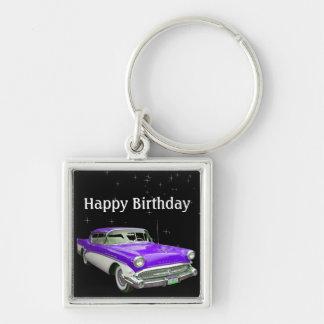Purple Classic Muscle Car Birthday Bash Keychain