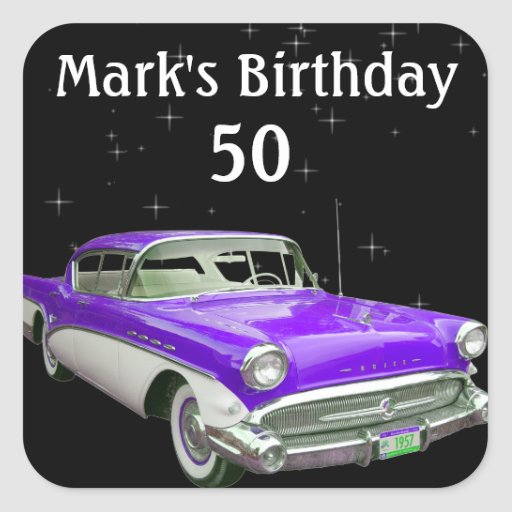 Purple Classic Muscle Car Birthday Bash Sticker