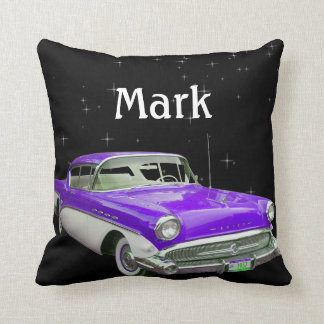Purple Classic Muscle Car Birthday Bash Throw Pillow