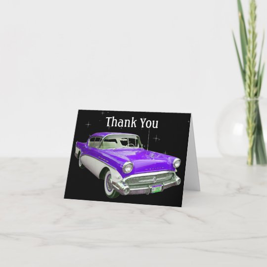 Purple Classic Muscle Car Birthday Thank You Zazzle Com