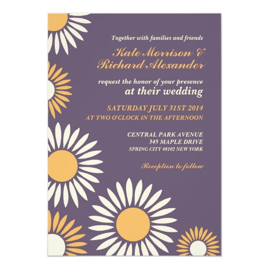 Purple Classic Retro Sunflower Wedding Invitation