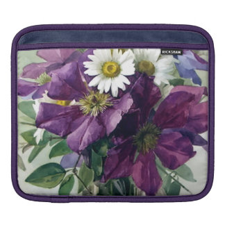 Purple Clematis and White Daisies Fine Art iPad Sleeve