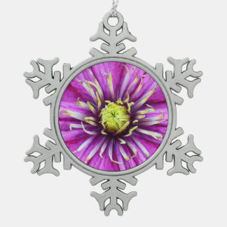 Purple clematis flower blossom snowflake pewter christmas ornament