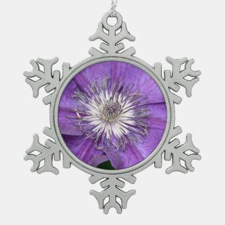 Purple clematis flower christmas ornament