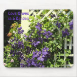 Purple Clematis Garden Saying Mouse Pad