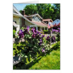 Purple Clematis on Rustic Fence Greeting Card
