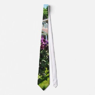 Purple Clematis on Rustic Fence Neck Tie