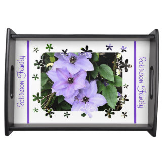 Purple Clematis+Personalize Name Food Trays