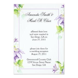 Purple Clematis Post Wedding Reception Invit Card