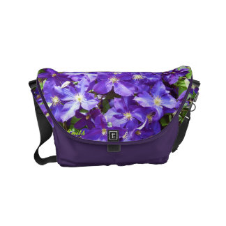 Purple Clematis Small Messenger Bag