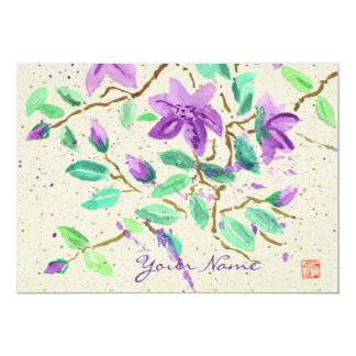Purple Clematis Watercolor Painting Washi Paper 5x7 Paper Invitation Card