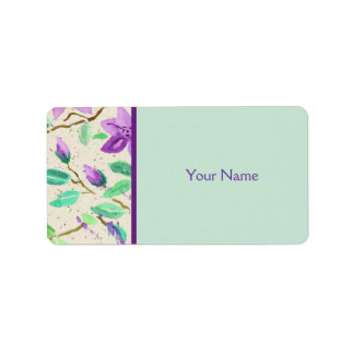 Purple Clematis Watercolor Painting Washi Paper Label