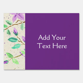 Purple Clematis Watercolor Painting Washi Paper Sign