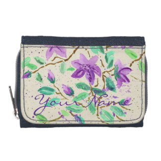 Purple Clematis Watercolor Painting Washi Paper Wallets