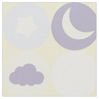 Purple Clouds Moons and Stars Baby Nursery Pattern Fabric