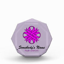 Purple Clover Ribbon Acrylic Award