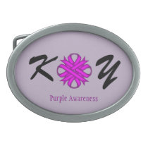 Purple Clover Ribbon Belt Buckle