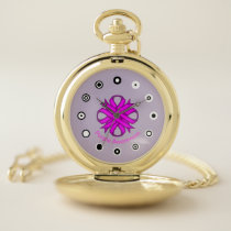 Purple Clover Ribbon (Bf) by K Yoncich Pocket Watch