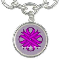 Purple Clover Ribbon by Kenneth Yoncich Charm Bracelet