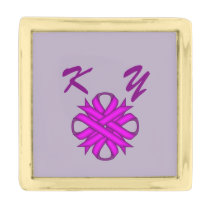 Purple Clover Ribbon by Kenneth Yoncich Gold Finish Lapel Pin