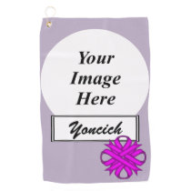 Purple Clover Ribbon by Kenneth Yoncich Golf Towel