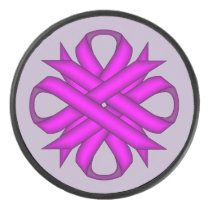 Purple Clover Ribbon by Kenneth Yoncich Hockey Puck