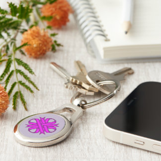 Purple Clover Ribbon by Kenneth Yoncich Keychain
