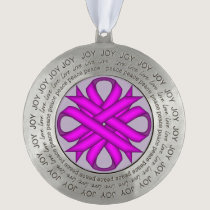 Purple Clover Ribbon by Kenneth Yoncich Pewter Ornament