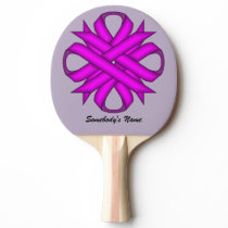 Purple Clover Ribbon by Kenneth Yoncich Ping-Pong Paddle
