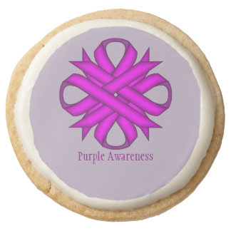 Purple Clover Ribbon by Kenneth Yoncich Round Shortbread Cookie