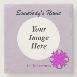 Purple Clover Ribbon by Kenneth Yoncich Stone Coaster