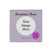 Purple Clover Ribbon by Kenneth Yoncich Stone Magnet