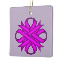 Purple Clover Ribbon Ceramic Ornament