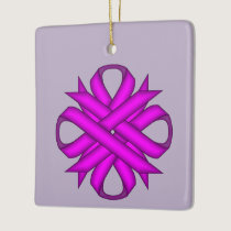 Purple Clover Ribbon Ceramic Ornament