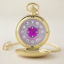 Purple Clover Ribbon (CHN/JPf) by K Yoncich Pocket Watch