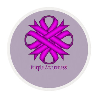 Purple Clover Ribbon Edible Frosting Rounds