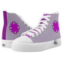 Purple Clover Ribbon High-Top Sneakers