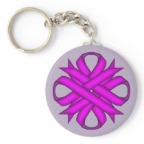 Purple Clover Ribbon Keychain