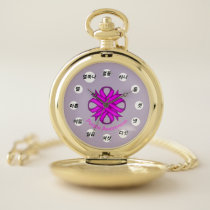 Purple Clover Ribbon (Kf) by K Yoncich Pocket Watch