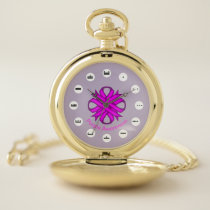 Purple Clover Ribbon (Mf) by K Yoncich Pocket Watch