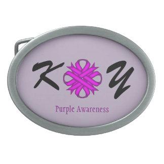 Purple Clover Ribbon Oval Belt Buckle