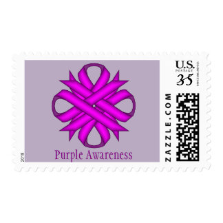 Purple Clover Ribbon Postage Stamps
