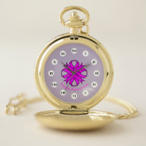 Purple Clover Ribbon (Rf) by K Yoncich Pocket Watch