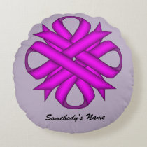 Purple Clover Ribbon Round Pillow