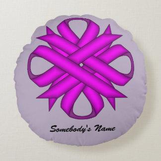 Purple Clover Ribbon Round Pillow
