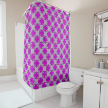 Purple Clover Ribbon Shower Curtain
