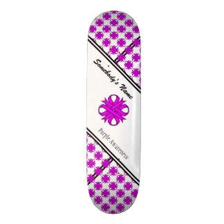 Purple Clover Ribbon Skateboard Deck