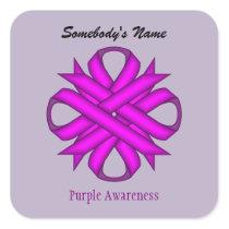 Purple Clover Ribbon Square Sticker