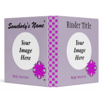Purple Clover Ribbon Template 3 Ring Binder