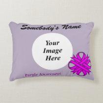 Purple Clover Ribbon Template Accent Pillow